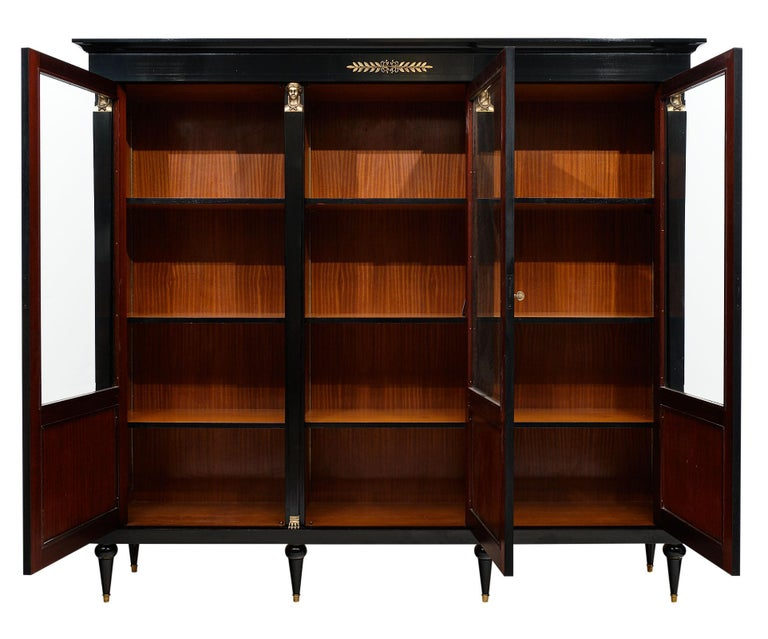 Wood Consulat Style French Antique Bookcase For Sale
