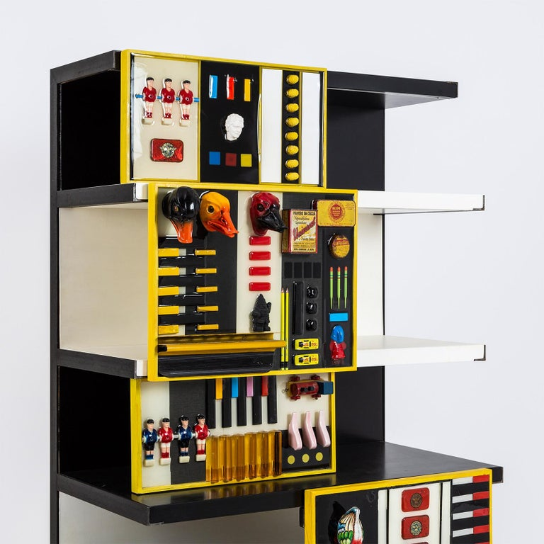 """Modern """"Contaminazioni Geometriche"""" Library in Black and Yellow Wood by Emanuela Crotti For Sale"""