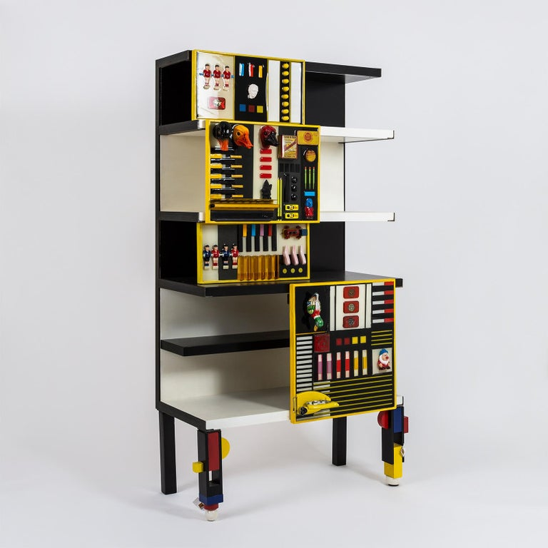 """Contemporary """"Contaminazioni Geometriche"""" Library in Black and Yellow Wood by Emanuela Crotti For Sale"""