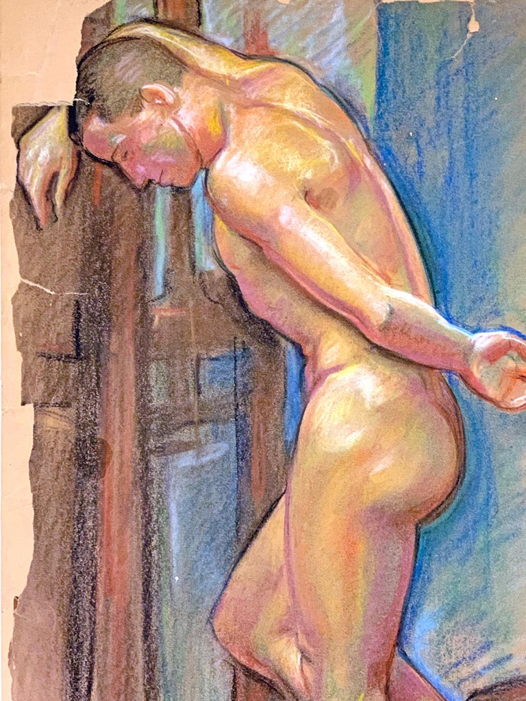 Sensuous and vividly-hued, this pastel drawing of a standing male nude with his head resting against the wall was made by Allyn Cox, son of the famous muralist Kenyon Cox. The younger Allyn was important in his own right for executing an ambitious