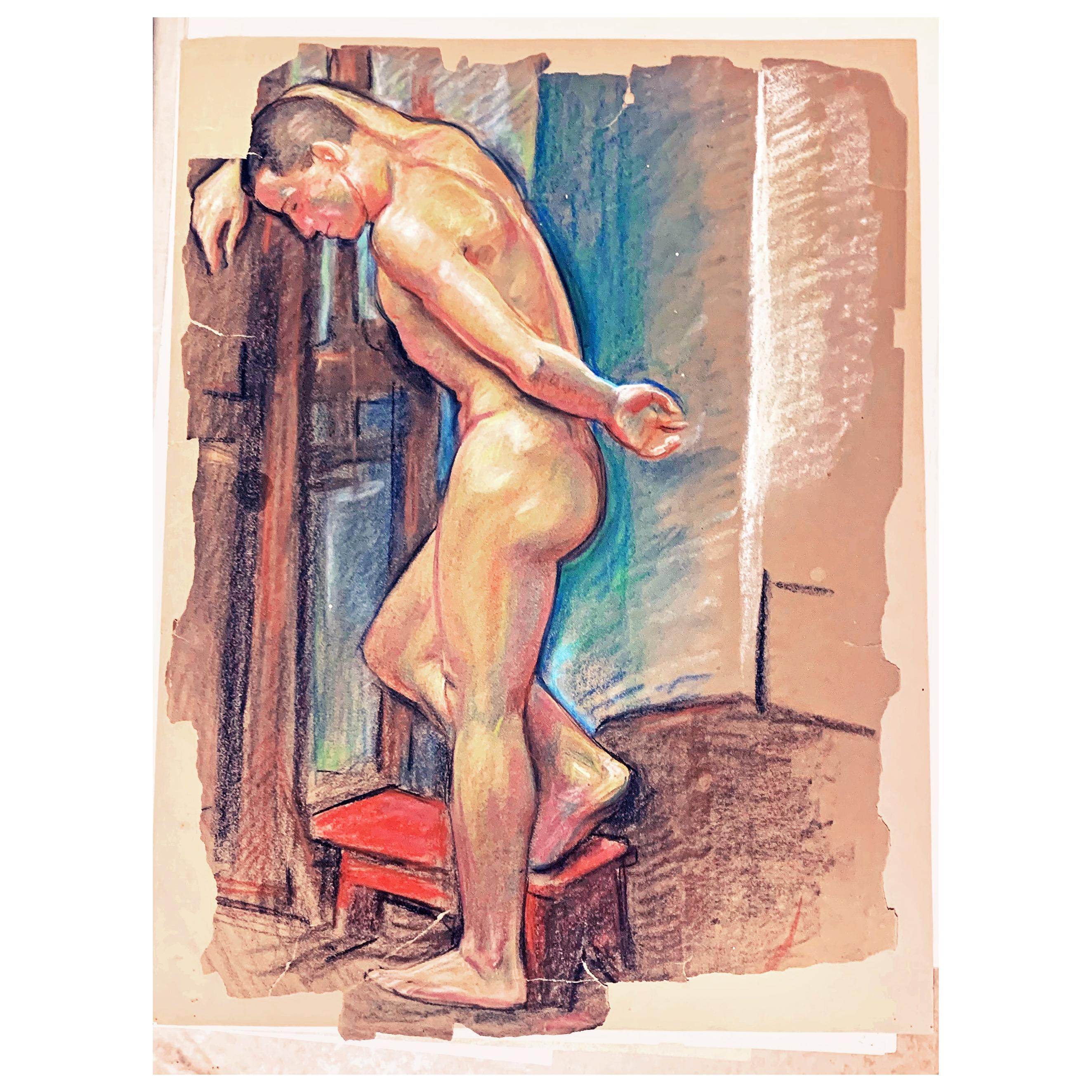 """""""Contemplation,"""" Brilliantly-Hued Pastel Drawing of Standing Male Nude by Cox"""