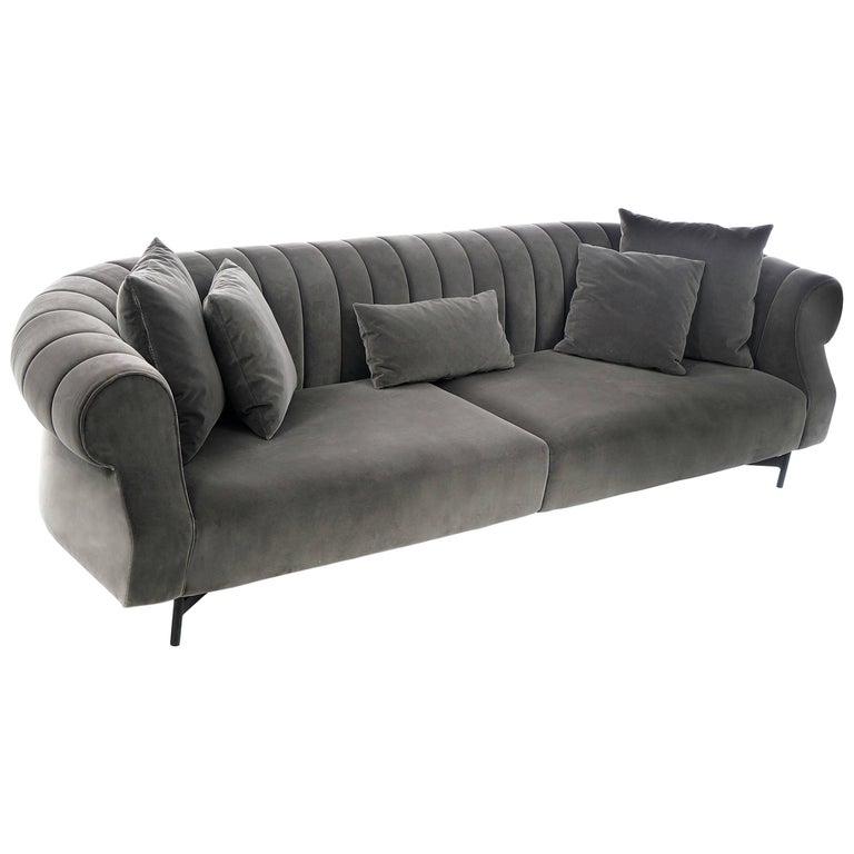 Contempo Curved Sofa, Grey Velvet Sofa by Maurizio Manzoni - Ready to Ship