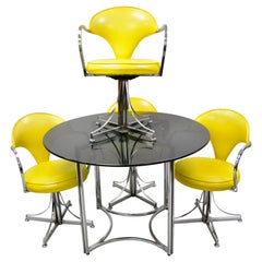 Contempo Frames Inc. Midcentury Yellow Vinyl Chrome Frame Dining Set, 5 Pieces