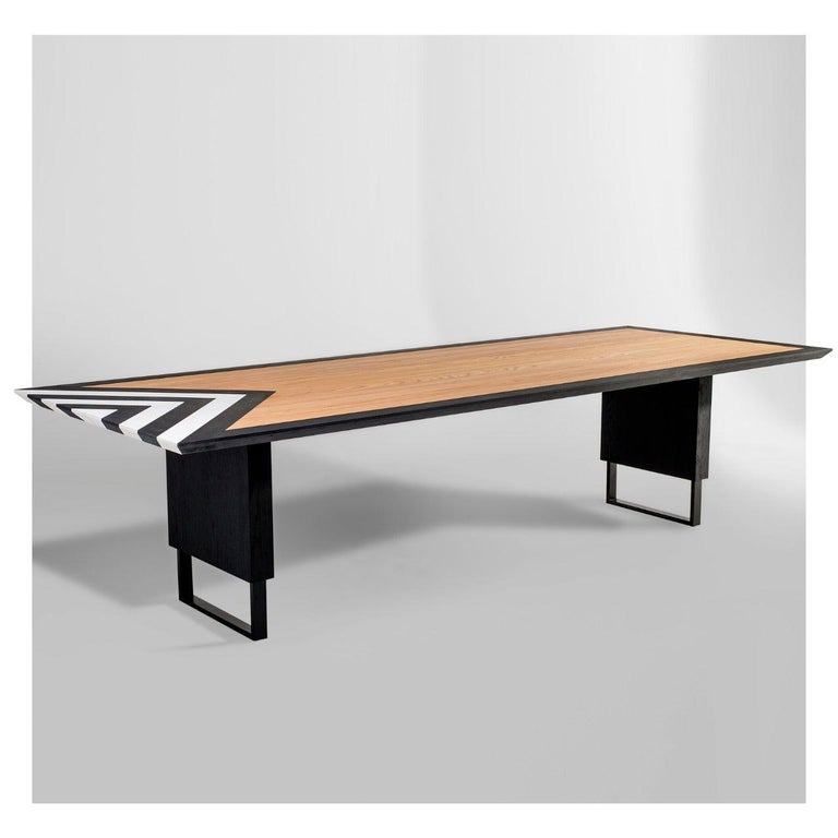 Contemporary Modern Large Dining Table in Black, White and Natural Oak, 118'' -  10 seater  For Sale