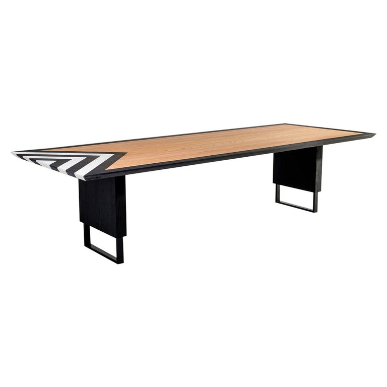Modern Large Dining Table in Black, White and Natural Oak, 118'' -  10 seater  For Sale