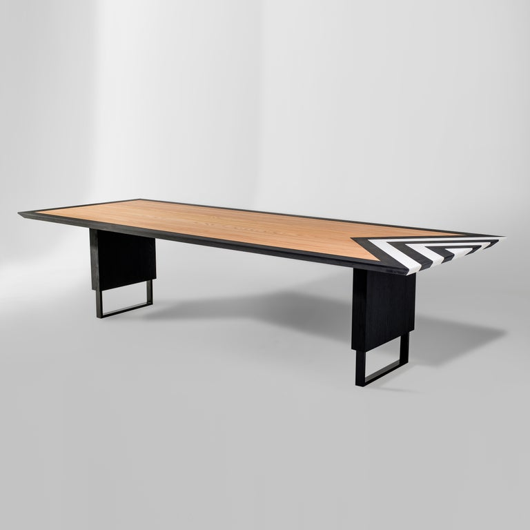 Metal Modern Large Dining Table in Black, White and Natural Oak, 118'' -  10 seater  For Sale