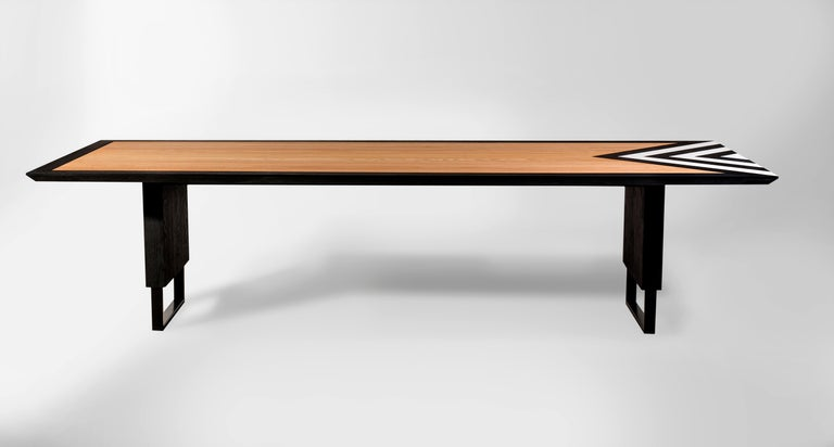 Modern Large Dining Table in Black, White and Natural Oak, 118'' -  10 seater  For Sale 1