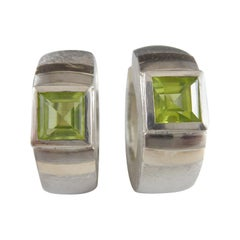 Contemporarary Silver and Gold Huggy Earrings with with Peridot