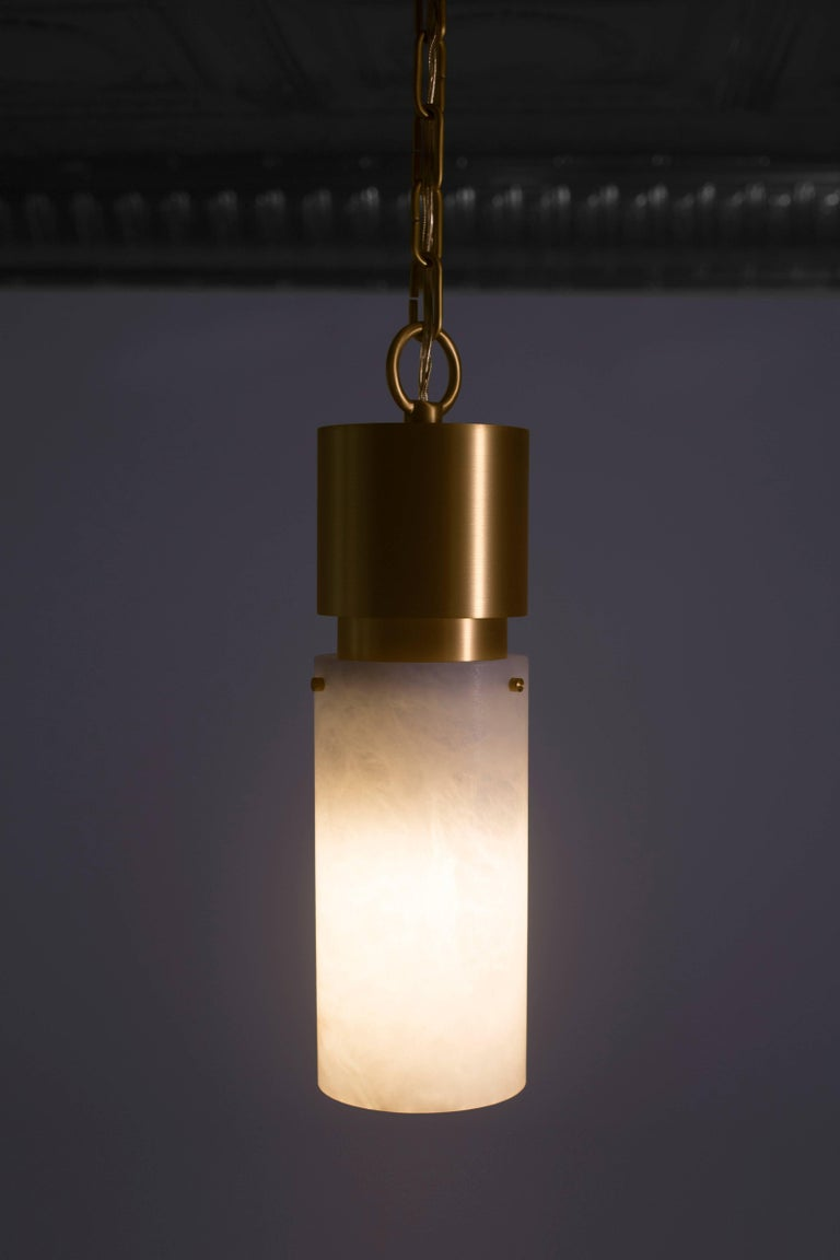Post-Modern Contemporary 000 Pendant in Brass and Alabaster by Orphan Work, 2018 For Sale