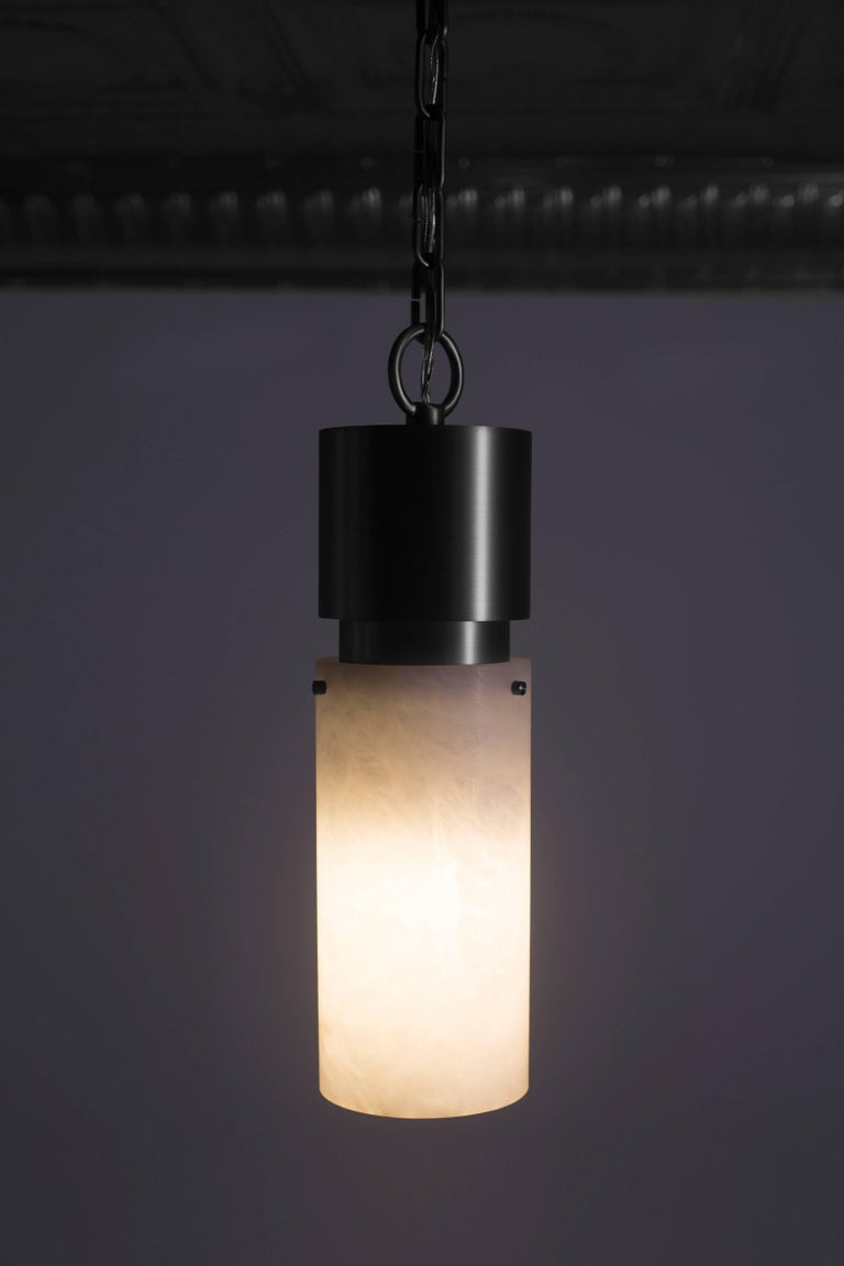 Contemporary 000 Pendant in Brass and Alabaster by Orphan Work, 2018 For Sale 1