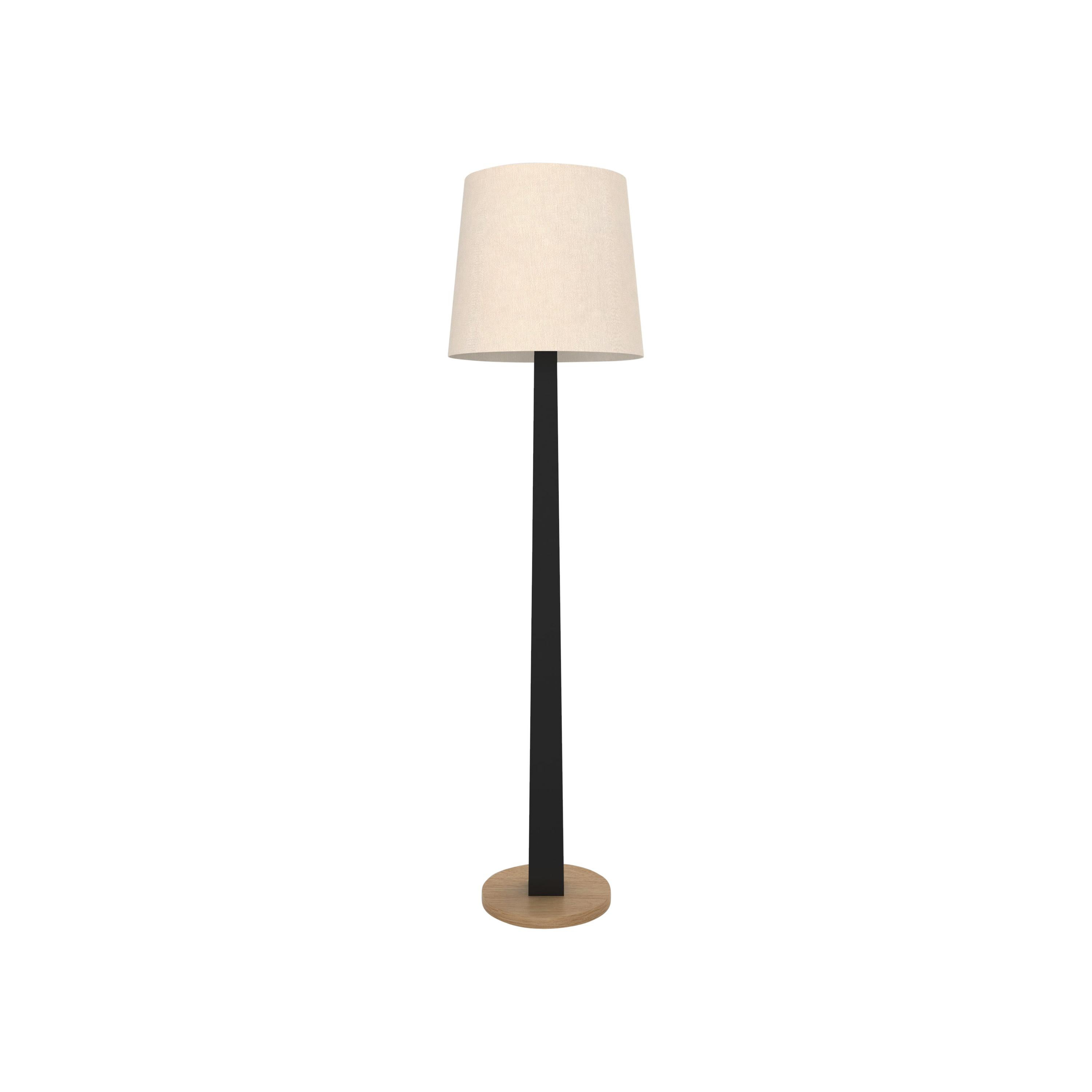 Contemporary 002 Floor Lamp in Oak and Black by Orphan Work