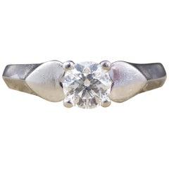 Contemporary 0.33 Carat Brilliant Cut and Color Diamond Ring in Platinum