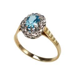 Blue Topaz Diamond Halo Dress Ring, Zig Zag Shoulders UK Gold Hallmarks