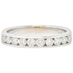 Contemporary 0.50 Carat Diamond 14 Karat White Gold Channel Band Ring