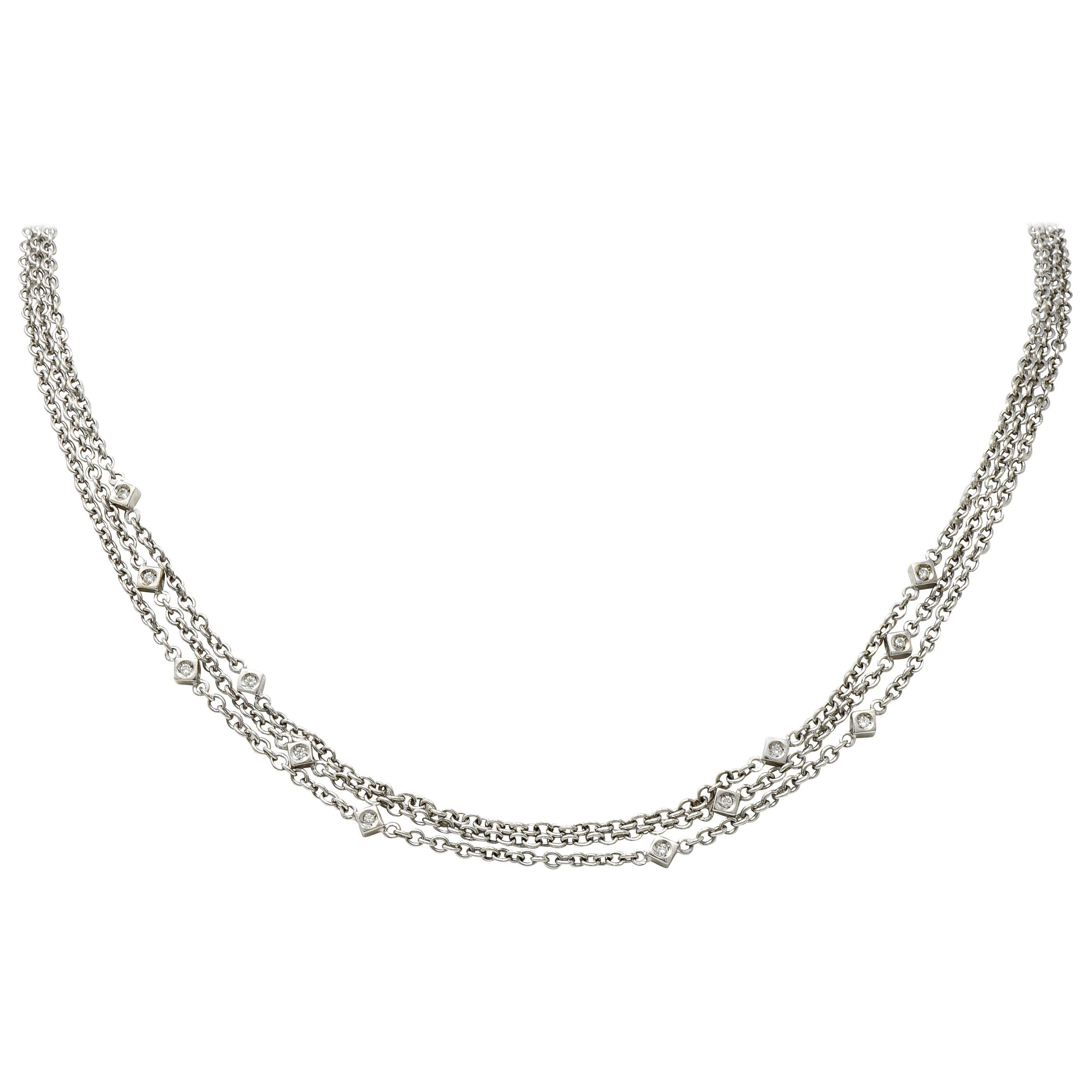 Contemporary 0.50 Carat Diamond 18 Karat White Gold Multi-Strand Necklace