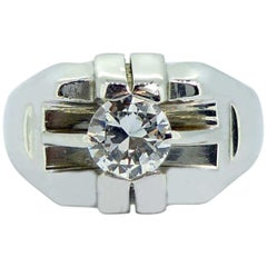 Contemporary 0.55 Carat Diamond Solitaire Ring, Signet Style Head, White Gold