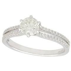 Contemporary 0.76 Carat Diamond and White Gold Solitaire Ring