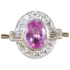 Contemporary 0.95ct Pink Sapphire and Diamond Cluster Ring Mounted in Platinum
