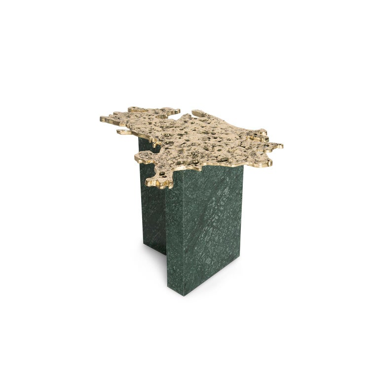 Modern Contemporary 1-3 Side Table, Polished Patinated Brass Cast and Green Marble For Sale
