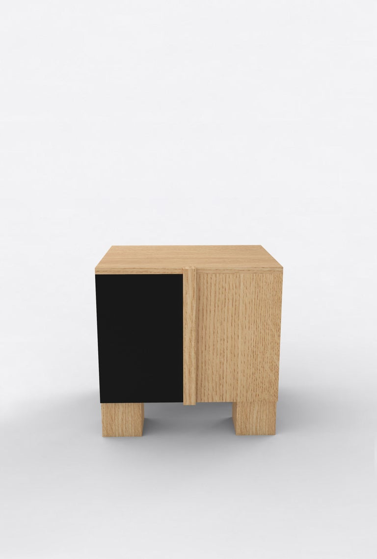 Post-Modern Contemporary 100 Bedside in Oak and Black by Orphan Work, 2019 For Sale