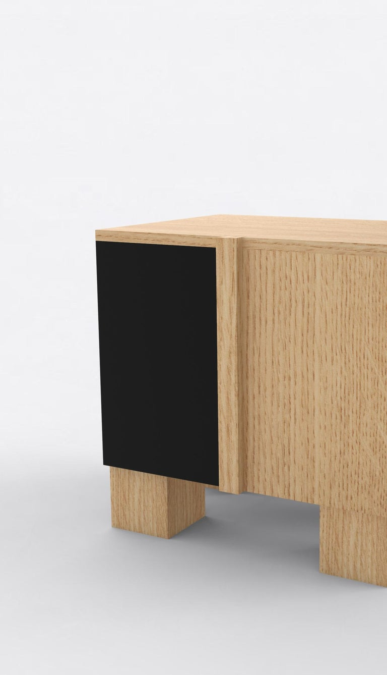 American Contemporary 100 Bedside in Oak and Black by Orphan Work, 2019 For Sale