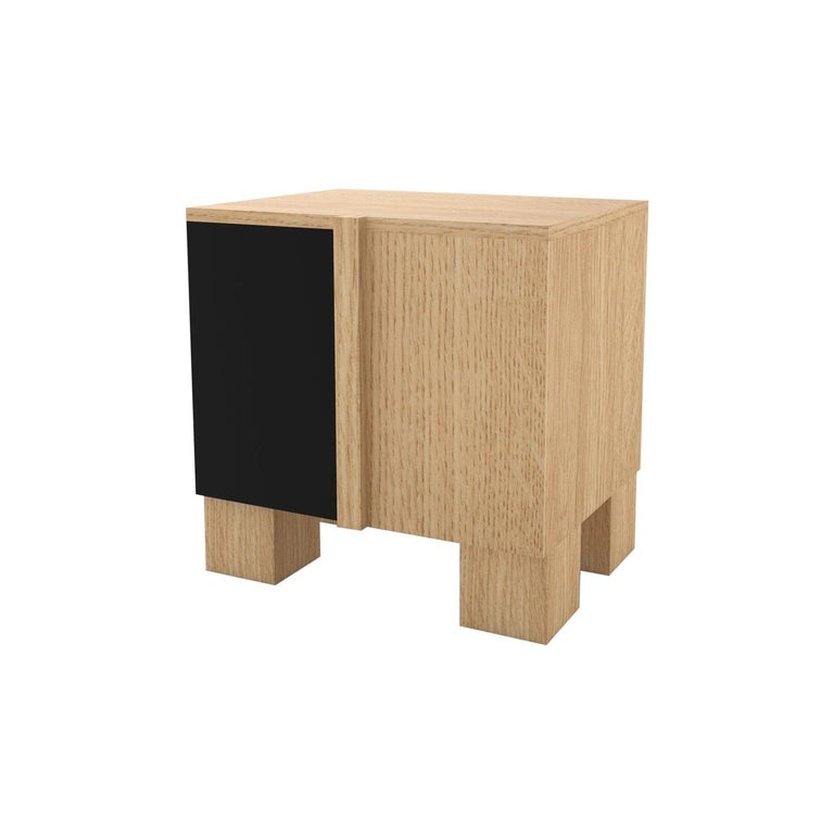 Contemporary 100 Bedside in Oak and Black by Orphan Work, 2019 For Sale