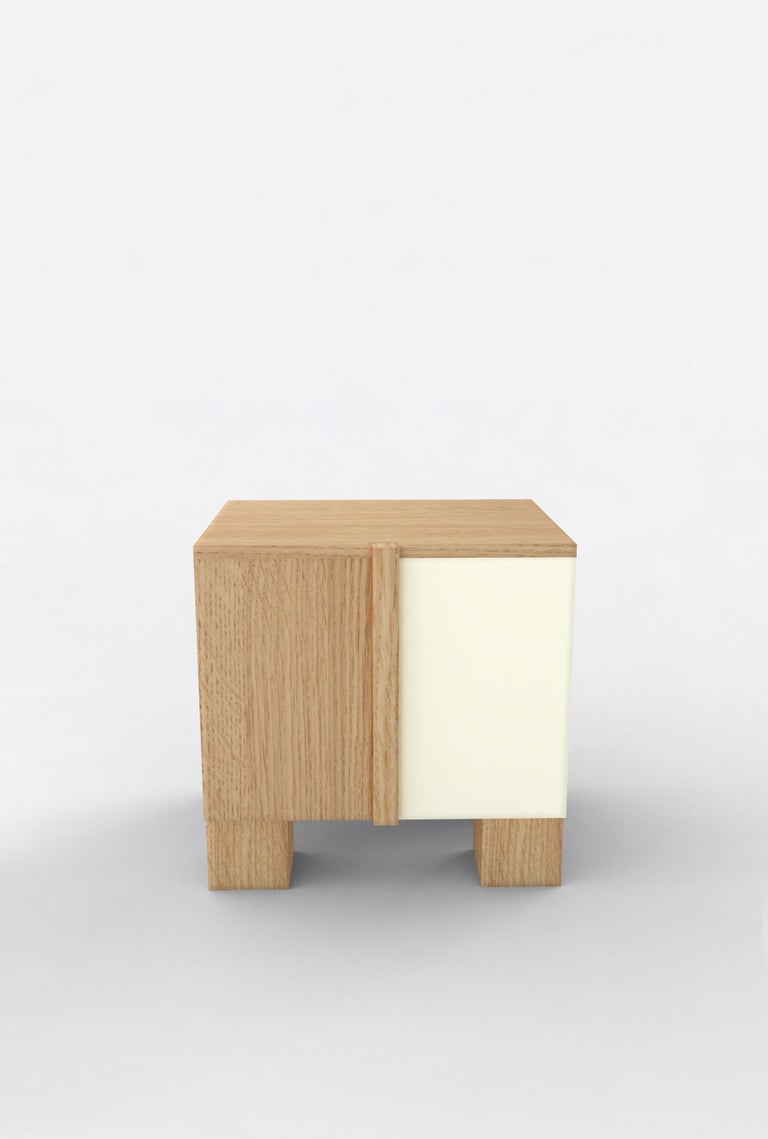 Post-Modern Contemporary 100 Bedside in Oak and White by Orphan Work, 2019 For Sale