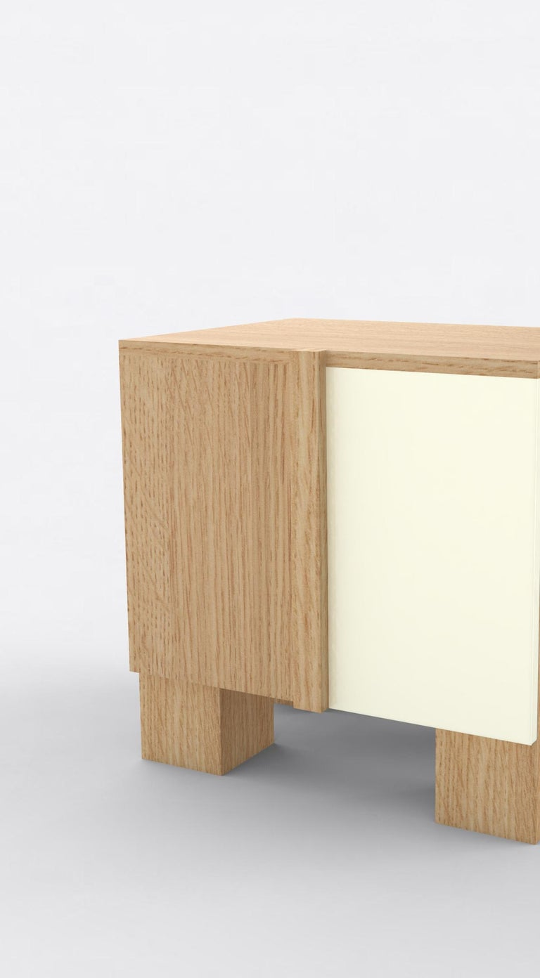 American Contemporary 100 Bedside in Oak and White by Orphan Work, 2019 For Sale