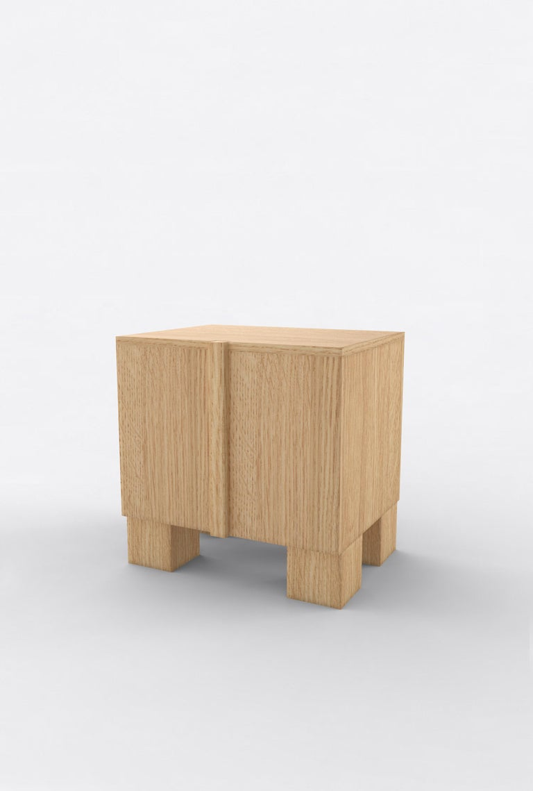 """Orphan Work 100 Bedside, 2019 Shown in oak. Available in natural oak. Measures: 24"""" W x 15"""" D x 22"""" H 2 doors with adjustable shelves.   Additional dimensions, materials or finishes available upon request.  Prices may vary depending.   Orphan Work"""