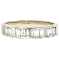 Contemporary 1.00 Carat Diamond 14 Karat White Gold Band or Stack Ring