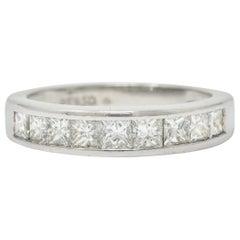 Contemporary 1.00 Carat Princess Cut Diamond Platinum Channel Band Ring