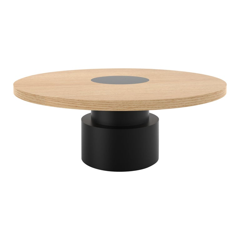 Contemporary 100 Coffee Table in Oak and Black by Orphan Work, 2019 For Sale