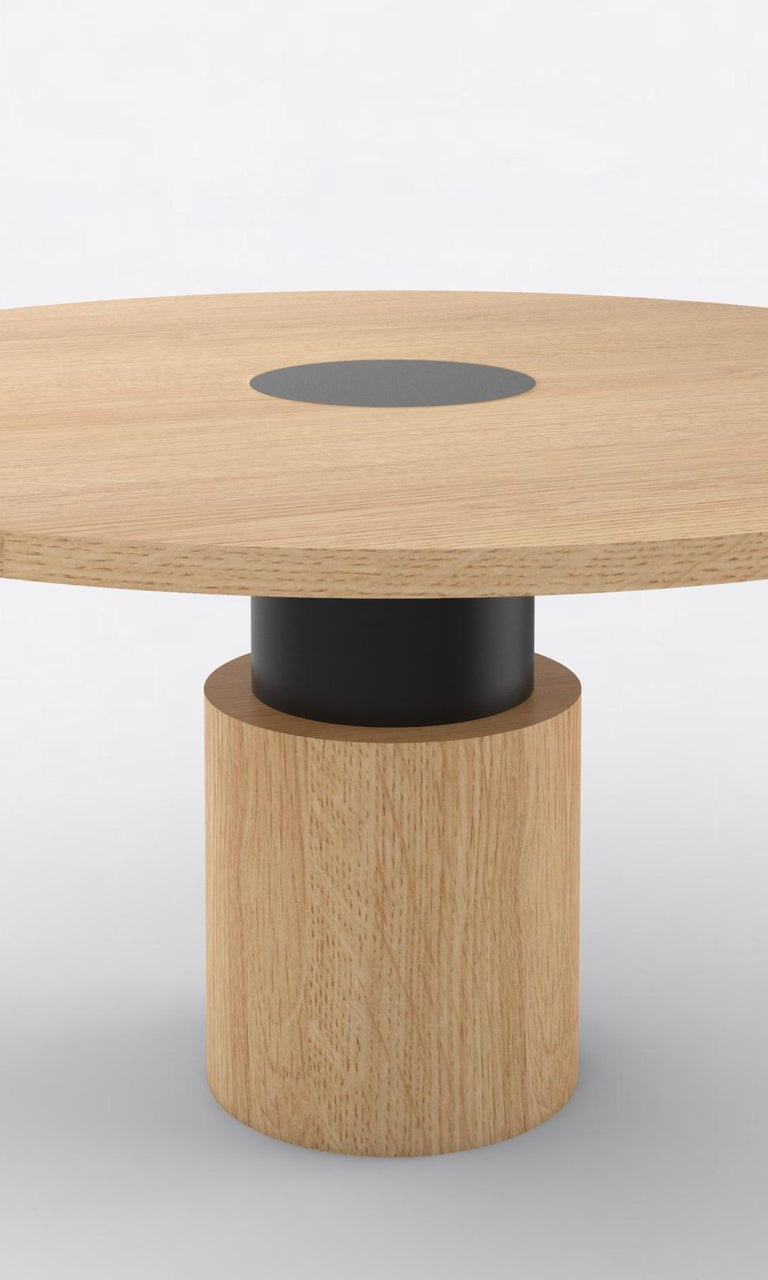 Post-Modern Contemporary 100 Dining Table in Oak and Black by Orphan Work, 2019 For Sale