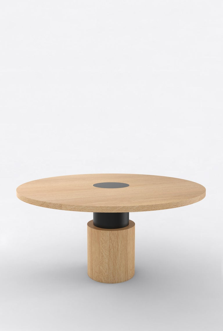 Orphan work 100 Dining Table, 2019 Shown in oak with black. Available in natural oak with painted base. Measures: 60