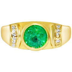 Contemporary 100% Natural Emerald Diamond Cocktail Gold Ring