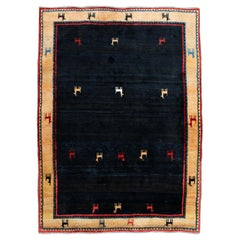 Contemporary 100% Wool Iranian Area Rug Carpet Llama Design Border Gabbeh