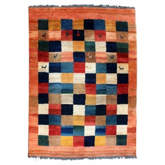 Contemporary 100% Wool Iranian Area Rug Carpet Llama Design Gabbeh Charlotte