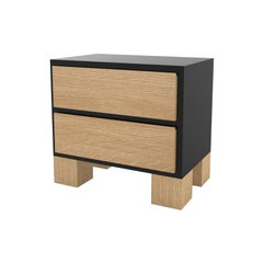Contemporary 101 Bedside in Oak and Black by Orphan Work, 2020