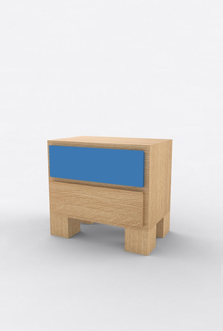 """Orphan Work 101 bedside, 2020 Shown in oak and color Available in natural oak with painted drawer Measures: 24"""" W x 15"""" D x 22"""" H 2 drawers  Additional dimensions, materials or finishes available upon request.  Prices may vary depending."""