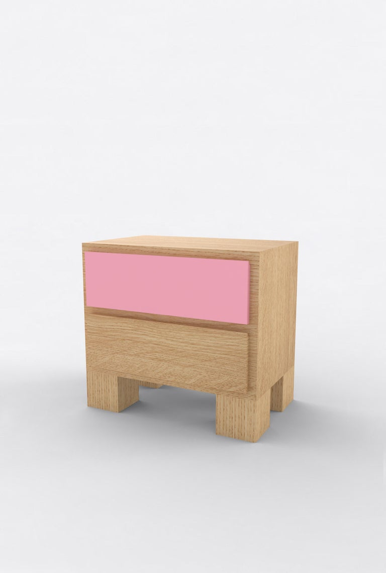 Post-Modern Contemporary 101 Bedside in Oak and Color by Orphan Work, 2020 For Sale
