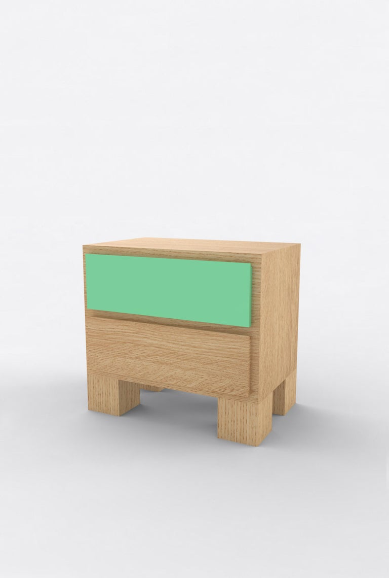 American Contemporary 101 Bedside in Oak and Color by Orphan Work, 2020 For Sale