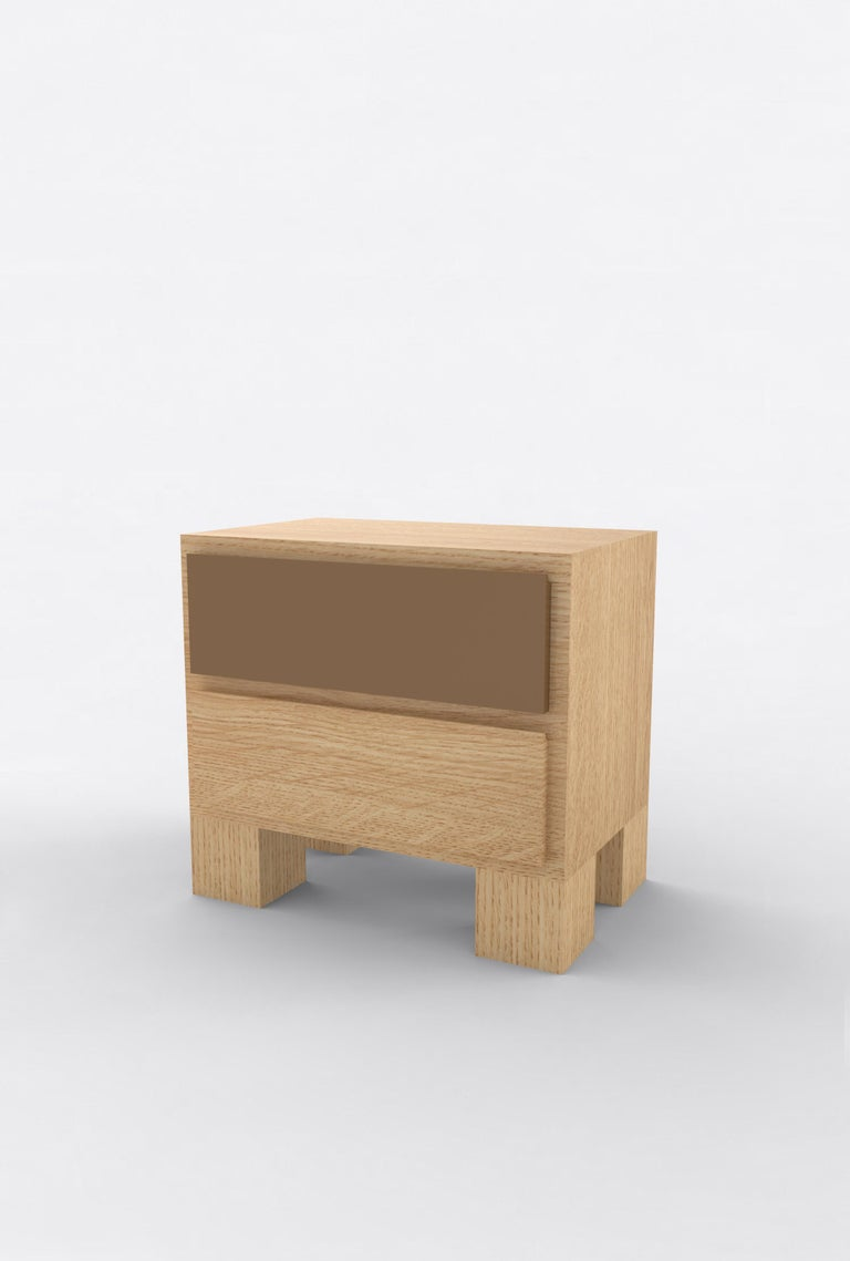 Contemporary 101 Bedside in Oak and Color by Orphan Work, 2020 For Sale 1