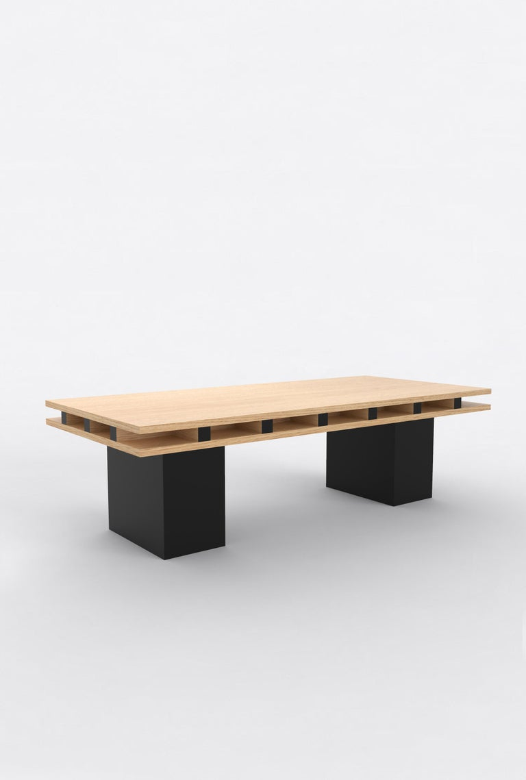 """Orphan Work 101 Coffee Table, 2019 Shown in oak and black. Available in natural oak with painted base. Measures: 55"""" L x 25"""" D x 16"""" H  Additional dimensions, materials or finishes available upon request.  Prices may vary depending.   Orphan Work is"""