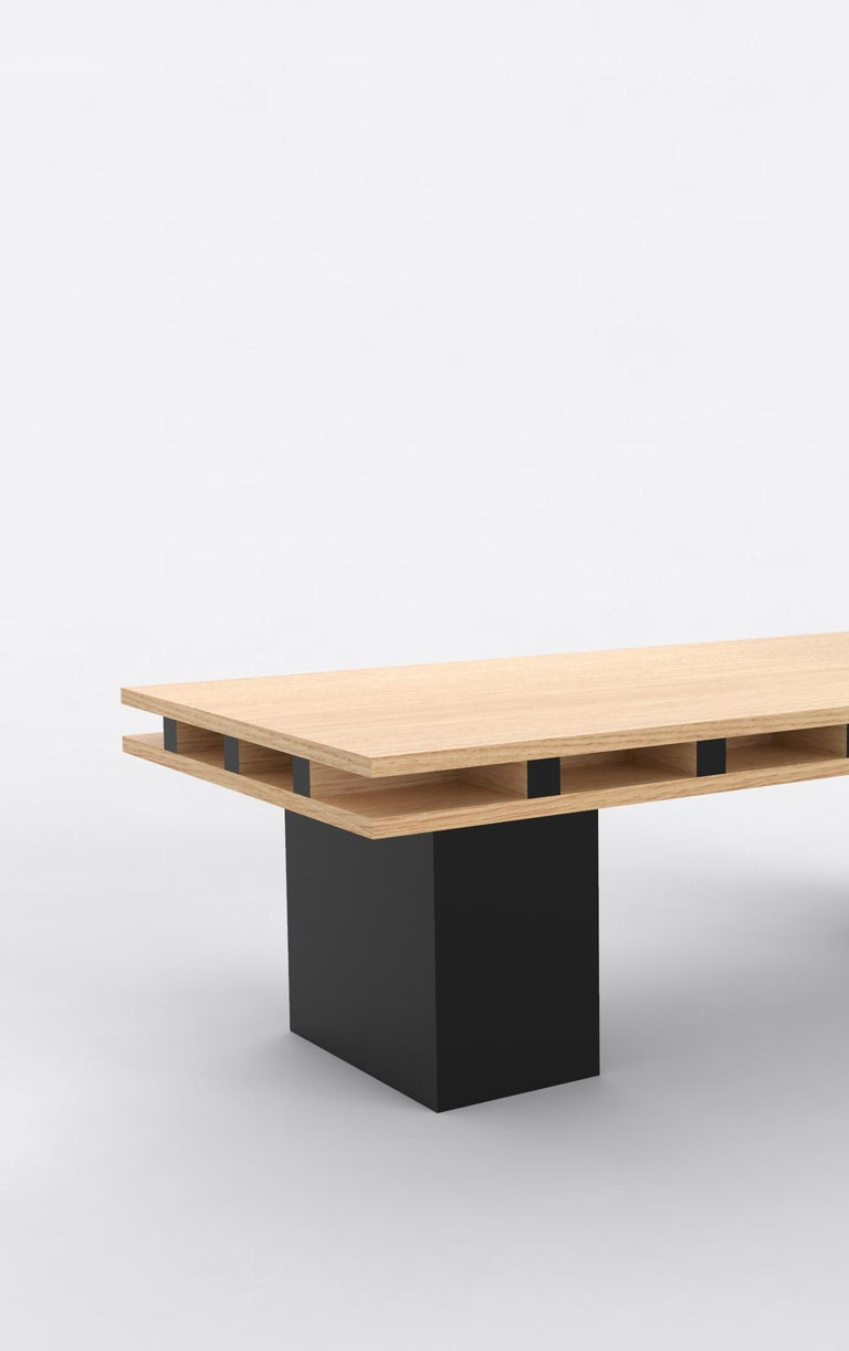 American Contemporary 101 Coffee Table in Oak and Black by Orphan Work, 2019 For Sale