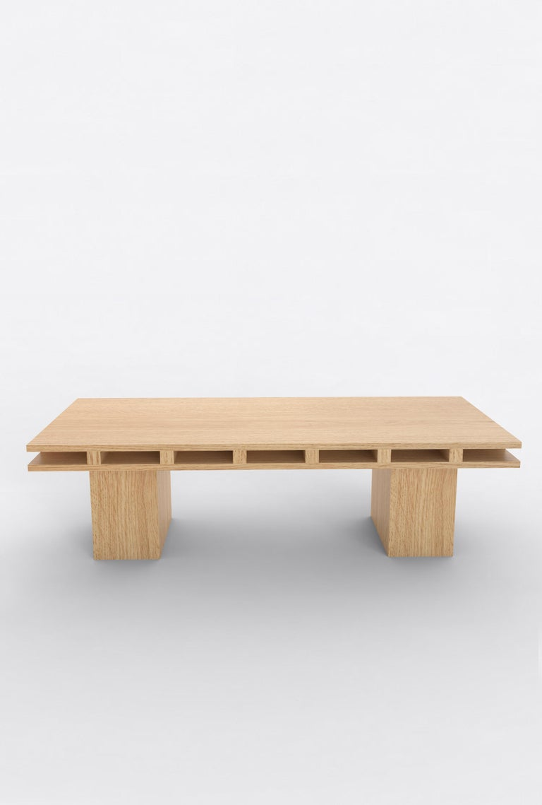 Post-Modern Contemporary 101 Coffee Table in Oak by Orphan Work, 2019 For Sale