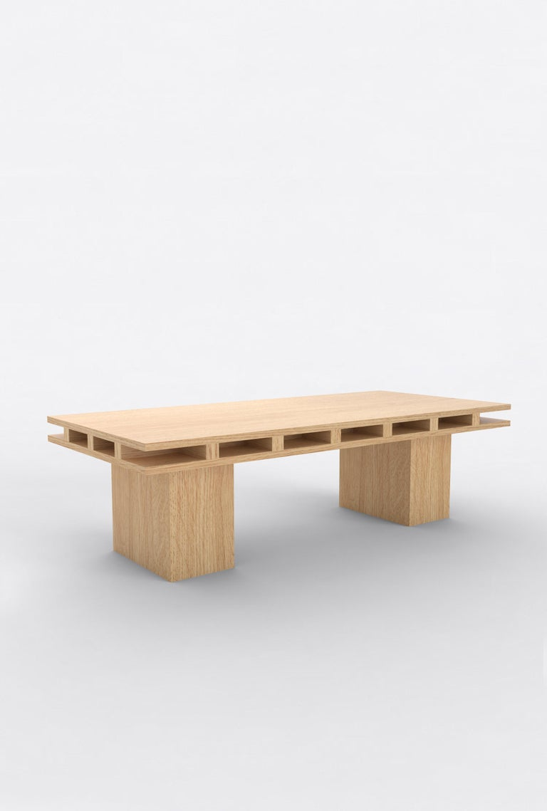 """Orphan Work 101 Coffee Table, 2019 Shown in oak. Available in natural oak.  Measures: 55"""" L X 25"""" D X 16"""" H  Additional dimensions, materials or finishes available upon request.  Prices may vary depending.   Orphan Workis a new identity for lost"""