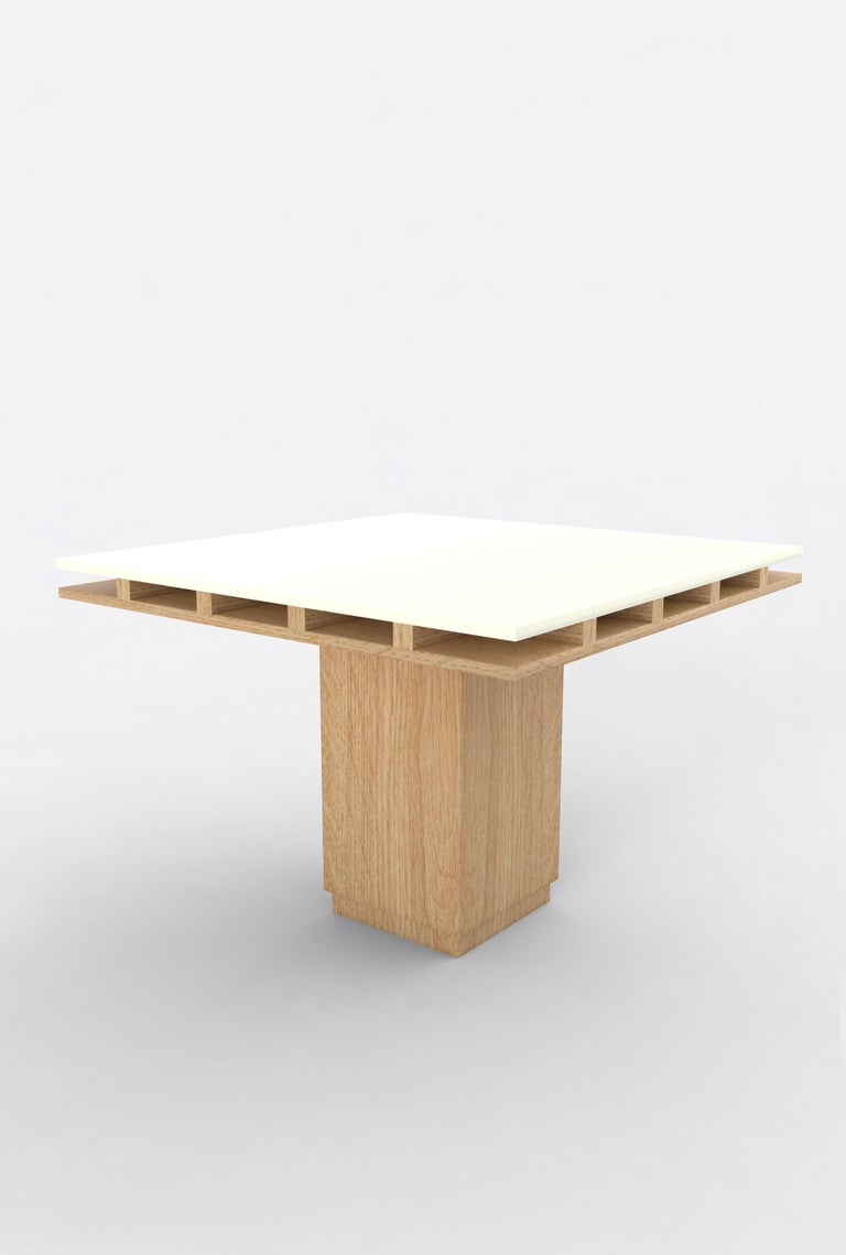 """Orphan Work 101 dining table, 2019 Shown in oak and white  Available in natural oak with painted top  Measures: 60"""" L x 60"""" W x 30"""" H Dimensions available: 42"""" L x 42"""" W x 30"""" H 60"""" L x 60"""" W x 30"""" H 72"""" L x 72"""" W x 30"""" H  Additional"""
