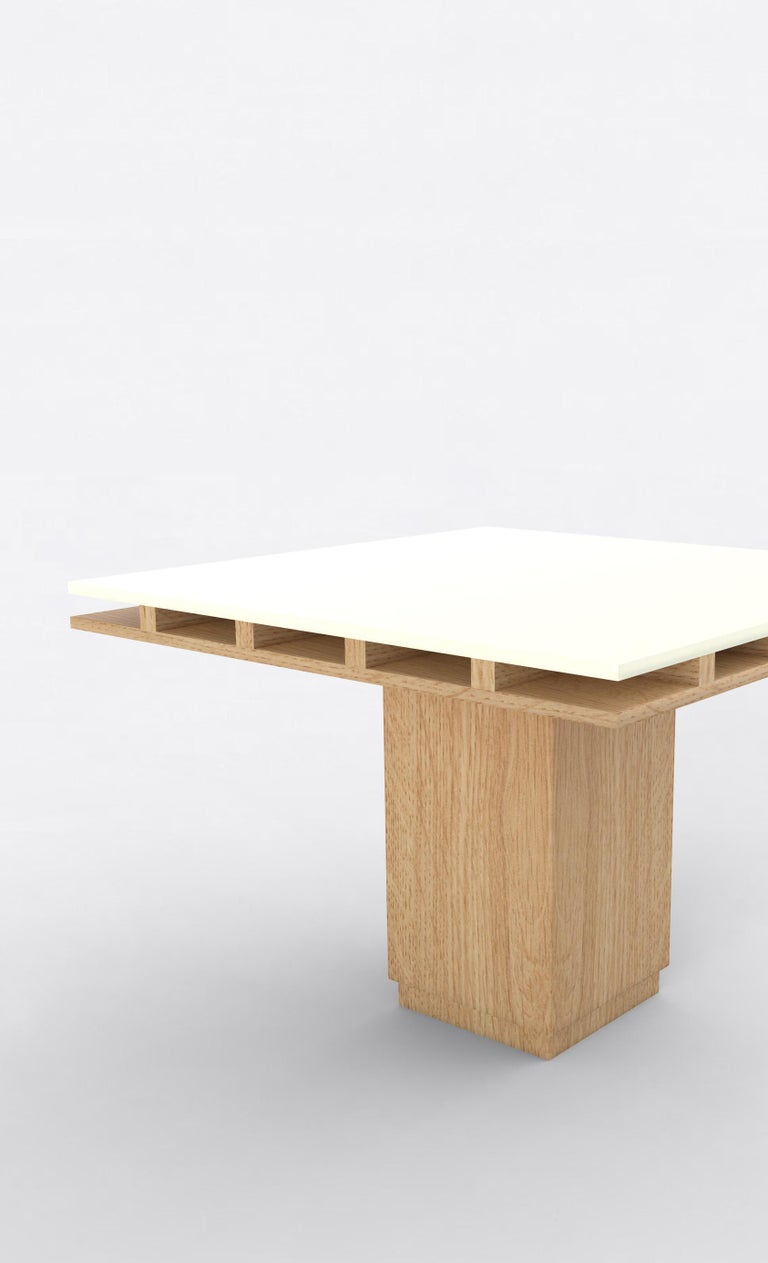 Post-Modern Contemporary 101 Dining Table in Oak and White by Orphan Work, 2019 For Sale