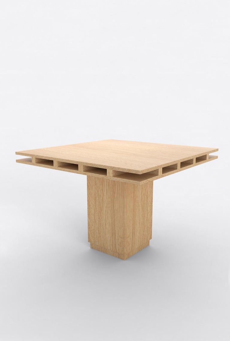 """Orphan work 101 Dining Table, 2019 Shown in oak  Available in natural oak  Measures: 60""""L x 60""""W x 30""""H Dimensions available: 42""""L x 42""""W x 30""""H 60""""L x 60""""W x 30""""H 72""""L x 72""""W x 30""""H  Additional dimensions, materials or finishes available upon"""