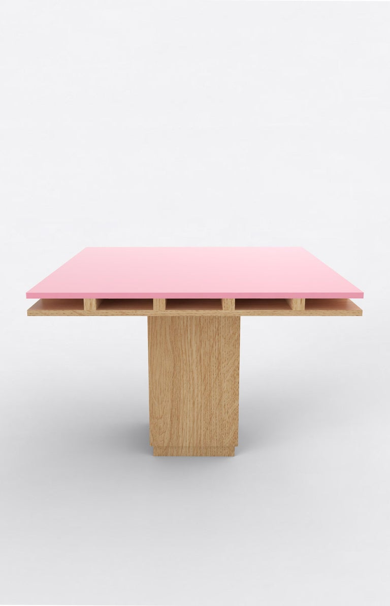 """Orphan work 101C dining table, 2020 Shown in oak and color Available in natural oak with painted top.  Colors available: pink, mint, yellow, blue and brown. Measures: 60"""" L x 60"""" W x 30"""" H Dimensions available: 42"""" L x 42"""" W x 30"""" H 60"""" L x"""